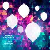 Fondo poligonal del extracto de la Feliz Navidad Fotografía de archivo