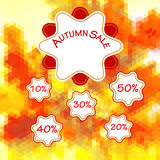 Fondo poligonal del otoño de triángulos con la etiqueta, números y texto ilustración del vector