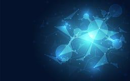 Fondo poligonale astratto dello spazio con tecnologia blu Illustrazione di vettore Fotografie Stock