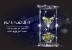 Fondo poligonale geometrico di arte di vettore della gestione di tempo illustrazione di stock