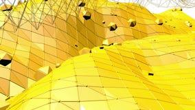 Fondo polivinílico bajo amarillo que oscila Superficie polivinílica baja abstracta como fondo psicodélico en diseño polivinílico  almacen de video