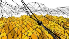 Fondo polivinílico bajo amarillo que oscila Superficie polivinílica baja abstracta como paisaje surrealista en diseño polivinílic ilustración del vector