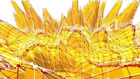 Fondo polivinílico bajo amarillo que pulsa Superficie polivinílica baja abstracta como paisaje de la ciencia ficción en diseño po ilustración del vector