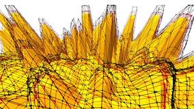 Fondo polivinílico bajo amarillo que pulsa Superficie polivinílica baja abstracta como visualización científica en diseño polivin metrajes