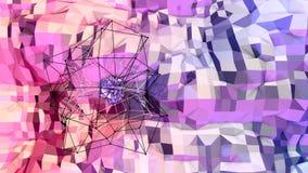 Fondo polivinílico bajo geométrico suave del movimiento con los polígonos puros del rojo azul Superficie polivinílica baja simple ilustración del vector