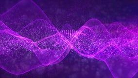 Fondo porpora astratto delle particelle dell'onda di colore di Digital stock footage