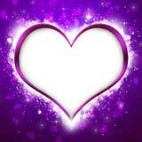 Fondo porpora del cuore del ` s del biglietto di S. Valentino Fotografia Stock Libera da Diritti