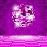 Fondo porpora del partito con la palla della discoteca Immagini Stock