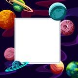 Fondo porpora quadrato con i pianeti illustrazione di stock