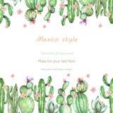 Fondo, postal de la plantilla con los cactus y flores blandas, mano dibujada en un fondo blanco stock de ilustración