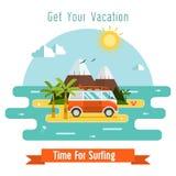 Fondo praticante il surfing della cartolina di vettore di tempo Fotografie Stock Libere da Diritti