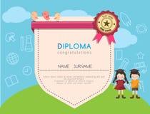 Fondo prescolare del modello di progettazione della scuola elementare del certificato del diploma dei bambini Fotografia Stock