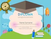 Fondo prescolare del modello di progettazione della scuola elementare del certificato del diploma dei bambini Immagini Stock