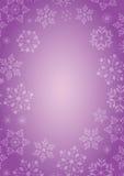 Fondo púrpura con la frontera de los copos de nieve Foto de archivo