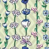 Fondo prudente verde oliva di zigzag senza cuciture del modello dei fiori selvaggi illustrazione di stock