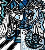 Fondo psicodélico abstracto stock de ilustración