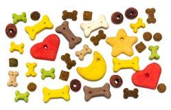 Fondo puesto plano colorido de la comida de perro fotografía de archivo libre de regalías