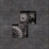 Fondo punk del metallo del vapore arrugginito con l'illustrazione dei denti e degli ingranaggi 3d fotografia stock