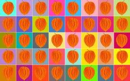 Fondo Quadrati multicolori con una foglia arancio Fotografia Stock
