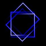 Fondo quadrato al neon blu Fotografie Stock