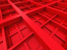 Fondo quadrato astratto di rosso di architettura di progettazione Fotografia Stock Libera da Diritti