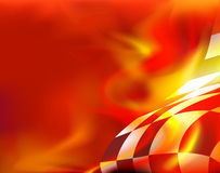 Fondo a quadretti della bandiera e fiamme rosse Fotografie Stock Libere da Diritti
