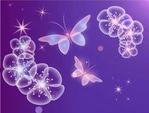 Fondo que brilla intensamente con las mariposas mágicas y la flor chispeante fotos de archivo