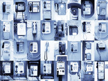 Fondo que consiste a partir de 32 teléfonos públicos urbanos Foto de archivo libre de regalías