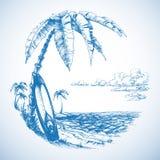 Fondo que practica surf ilustración del vector