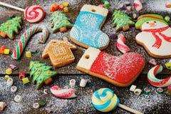 Fondo rústico con las galletas Foto de archivo libre de regalías