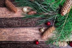 Fondo rústico de la composición del Año Nuevo de la Feliz Navidad Endecha plana Imágenes de archivo libres de regalías