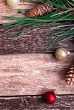 Fondo rústico de la composición del Año Nuevo de la Feliz Navidad Endecha plana Fotografía de archivo