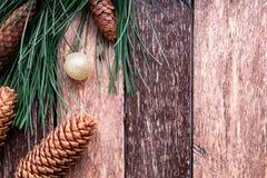 Fondo rústico de la composición del Año Nuevo de la Feliz Navidad Endecha plana Imagen de archivo