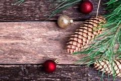 Fondo rústico de la composición del Año Nuevo de la Feliz Navidad Endecha plana Imagenes de archivo