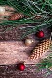Fondo rústico de la composición del Año Nuevo de la Feliz Navidad Endecha plana Fotos de archivo libres de regalías