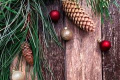 Fondo rústico de la composición del Año Nuevo de la Feliz Navidad Endecha plana Imagen de archivo libre de regalías