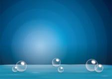 Fondo radial azul para los anuncios cosméticos y los conceptos Burbujas, bola de la esfera, mar del agua u océano transparente Ve Foto de archivo libre de regalías