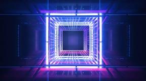 Fondo, raggi e punti culminanti al neon, costruzione del metallo illuminata con neon blu e rosa Fondo vuoto astratto di scena 3d illustrazione di stock