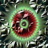 Fondo rasguñado extracto con los rayos y las grietas Fondo rojo, verde, blanco y negro que se asemeja a una explosión en espacio stock de ilustración