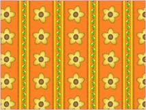 Fondo rayado anaranjado floral del papel pintado del vector Fotos de archivo