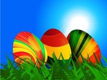 Fondo rayado colorido de los huevos de Pascua Imagenes de archivo