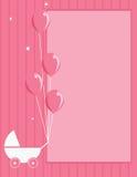 Fondo rayado del color de rosa del cochecito y del globo de bebé Imagen de archivo