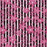 Fondo rayado del estampado de flores inconsútil Foto de archivo libre de regalías