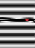 Fondo rayado, logotipo de los labios del ` s de la mujer Foto de archivo libre de regalías