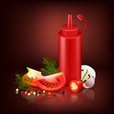 Fondo realista con la botella y las verduras plásticas rojas Fotografía de archivo