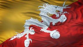 Fondo realista de la bandera de BHUTÁN que agita Fotos de archivo libres de regalías