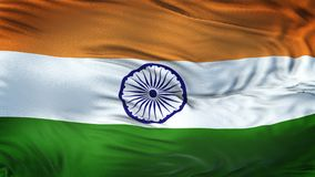 Fondo realista de la bandera de la INDIA que agita Imagenes de archivo