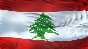 Fondo realista de la bandera de LÍBANO que agita Foto de archivo libre de regalías