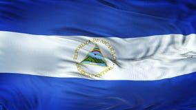 Fondo realista de la bandera de NICARAGUA que agita Foto de archivo