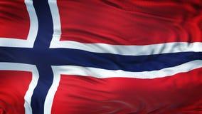 Fondo realista de la bandera de NORUEGA que agita Imagen de archivo